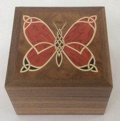 Celtic butterfly trinket box wooden jewellery by ThistleMarquetry