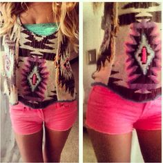 Tribal crop tank from www.freepeople.com, hot pink shorts from Victorias Secret Pink. Adorable!