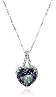 Sterling Silver Mystic Fire Topaz and Diamond Accent Heart Pendant Necklace, 18
