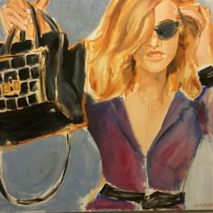 FINEARTSEEN - View Black Bag by Leslie Singer. A beautiful original fashion portrait of a woman with her luxury handbag. Available on FineArtSeen - The Home Of Original Art. Enjoy Free Delivery with every order. >