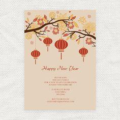 lantern tree chinese new year invitation  printable file by iDIYjr, $10.00