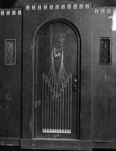 The door to Marion Davies' portable dressing room at M-G-M, circa 1926. (LAPL: 00094294)  Bizarre Los Angeles