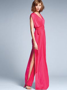 Make a sweeping style statement in this floor-skimming Chiffon-trim Maxi Dress from Victoria's Secret. Designed in our divinely drapey modal fabric with beautifully textured chiffon, in a feminine wrap silhouette for poolside glamour or party perfection. Gala Dresses, Sexy Dresses, Evening Dresses, Classy Outfits, Sexy Outfits, Fashion Outfits, Chiffon Maxi Dress, Victoria Dress, Women Lingerie