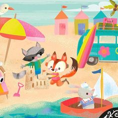 "Jill Howarth on Instagram: ""Hope your July got off to a great start! #jennifernelsonartists #kidlitart #boardbooks #beachtimefun #cutefox #kidlit #kidlitillustration"""