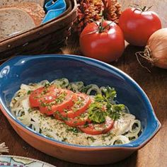 Easy light and refreashing - Tomato-Topped Sole Recipe. Keep in mind that recipe is per serving