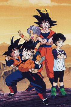 Goku, Gohan, Goten, Trunks, and Videl