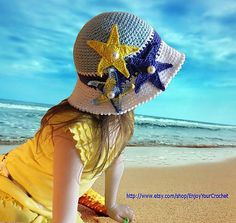 Ravelry: Summer hat with brims, beach sun hat with sea stars, starfish for girl, baby, teen, toddler, children, adult sizes pattern by Anna caron