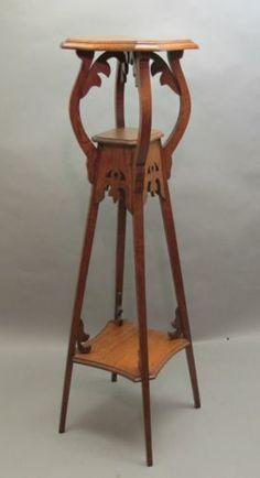 """Fine & Rare Antique 44"""" Art Nouveau Plant Stand Pedestal c. 1900 table"""