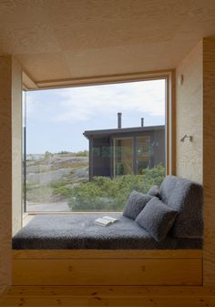 Margen Wigow Arkitektkontor models blackened timber holiday home on Swedish fishing huts — Dezeen Interior Architecture, Interior And Exterior, Interior Design, Plywood Interior, Window Benches, Window Seats, Timber Structure, Banquettes, Cabin Interiors