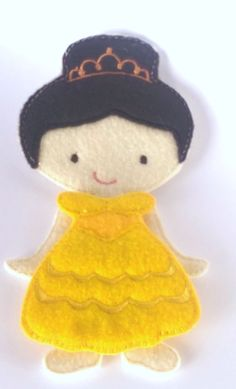 """Belle dress plus Ava Grace doll. All of our dolls and outfits are interchangeable. Doll measures approx 5""""X7"""" and is made of with a layer of soft felt and a very heavy stabilizer on the back. Dolls wi"""