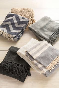 Stripe, chevron and solid color throws from Surya