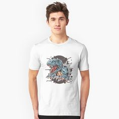 """T Rex Surprise"" T-shirt by SchoomDesigns Autumn Street Style, T Rex, Store Design, Tshirt Colors, Heather Grey, Classic T Shirts, Shirt Designs, Slim, Mens Tops"