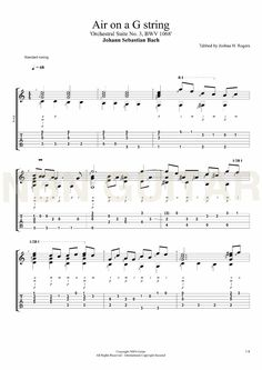 Air on a G string - Free Classical Guitar Tabs — NBN Guitar Jazz Guitar, Guitar Songs, Guitar Chords, Guitar Strumming, Ukulele, Gibson Les Paul, Guitar Tips, Guitar Lessons, Classical Guitar Sheet Music
