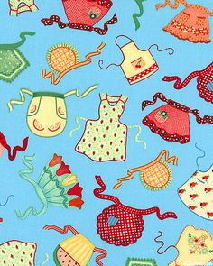 ©ME Mary Engelbreit fabric by VIP.  Kitchen Capers series, Calling All Aprons in Bahama Blue (out of print)