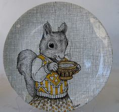 Illustrated Vintage Plate by Gretel Girl Draws #illustration #quirky #squirrel #art #vintage