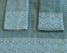 Check out Smoky Blue Towel Set of 3, Decorative Towels for Guest Bathroom, Lace on Towels Decor Master Bath, Wedding Gift for Daughter in Law on blingscarves