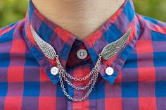 Silver Bird Wing Collar Clip Collar Chain by DapperandSwag on Etsy