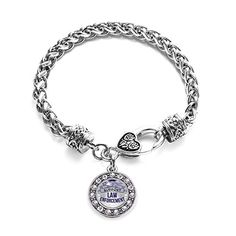 Inspired Silver Law Enforcement Support Circle Charm Braided Bracelet Silver Plated with Crystal Rhinestones * Want additional info? Click on the image.