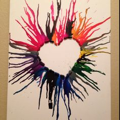 Crayon melting crafts to do, crafts for kids, cute crafts, arts and crafts, Cute Crafts, Crafts To Do, Crafts For Kids, Arts And Crafts, Diy Crafts, Crayon Crafts, Crayon Ideas, Crayon Heart, Art Diy