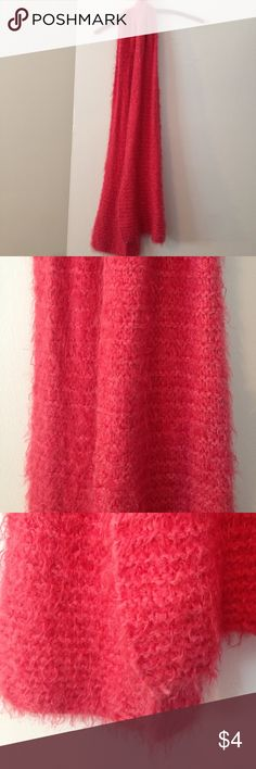 "Super soft handmade knit scarf Long scarf in a super soft coral pink yarn that I made myself! Very warm and no mistakes in it. 77""x12"" Accessories Scarves & Wraps"