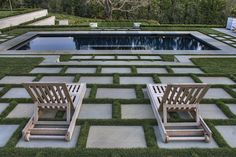 Cement Pavers Landscape Contemporary with Chaise Longue Chaise Lounge Geometric Geometry Grass