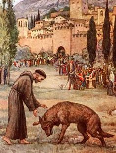 Francis and the Wolf ~ Wolf Paw Cookies Catholic Saints, Patron Saints, Roman Catholic, Catholic Prayers, Henri De Toulouse Lautrec, Religious Images, Religious Art, St Francisco, Patron Saint Of Animals