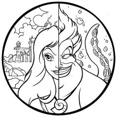 Commission: Ursula and Vanessa Color Page by EbonshireForest Disney Princess Coloring Pages, Disney Princess Colors, Disney Colors, Coloring Pages To Print, Printable Coloring Pages, Colouring Pages, Coloring Books, Fairy Coloring, Mermaid Coloring