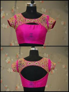 Top 10 Silk Saree Blouse Designs For This Diwali - Candy Crow Blouse Back Neck Designs, Silk Saree Blouse Designs, Fancy Blouse Designs, Bridal Blouse Designs, Floral Blouse, Designer Saree Blouses, Designer Blouse Patterns, Pattern Blouses For Sarees, Saree Blouse Patterns