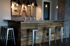 Rustic-basement-bar-crafted-from-reclaimed-wood-and-brick.jpg pixels Rustic-basement-bar-crafted-from-reclaimed-wood-and-brick. Small Basement Bars, Basement Bar Plans, Basement Bar Designs, Home Bar Designs, Basement Flooring, Basement Renovations, Basement Ideas, Walkout Basement, Basement Bathroom