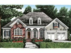 086H-0032: Southern House Plan with Bonus Space Cottage House Designs, Cottage Homes, Cottage Floor Plans, House Floor Plans, Country Style House Plans, Cottage Style, Traditional House Plans, Story House, Great Rooms