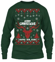 Merry Christmas Happy New Year Forest Green Long Sleeve T-Shirt Front