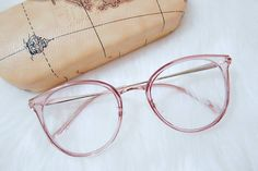 Cute Pink Plastic Clear Frame Glasses Full Frame Eyeglasses, Warm And Fuzzy Style glasses frames Unisex full frame mixed material eyeglasses Pink Glasses Frames, Womens Glasses Frames, Glasses Frames Online, Specs Frames Women, Online Eyeglasses, Eyeglasses For Women, Glasses Trends, Lunette Style, Pastel Outfit