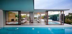 Bridgehampton - modern - pool - new york - Ian Engberg Above Ground Pool, In Ground Pools, Indoor Outdoor Living, Outdoor Areas, Swimming Pool Designs, Swimming Pools, Sliding Door Design, Sliding Wall, Sliding Doors