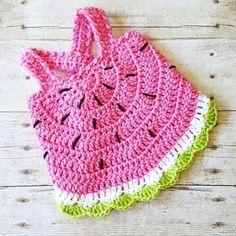 Crochet Baby Watermelon Summer Open Back Swing Top Tank Halter Top Newborn Infant Toddler Handmade Clothing Crochet Baby Blanket Beginner, Baby Girl Crochet, Crochet Baby Clothes, Baby Knitting, Newborn Crochet, Crochet Dresses, Crochet Summer Hats, Crochet For Kids, Summer Knitting