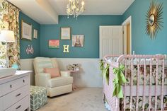 Girly Teal Nursery - love the vintage accents and pops of gold in this sweet baby girl nursery!