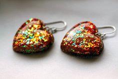 Jewelry  Fall Earrings  Glitter Heart Resin jewelry by isewcute