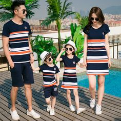 Family Set 2017 Father and Son Clothes Fashion Mother Daughter Dress Family Clothing Stripe Sports Suit Family Matching Outfits Mom And Son Outfits, Mother Daughter Matching Outfits, Twin Outfits, Couple Outfits, Matching Family Outfits, Baby Outfits Newborn, Kids Outfits, Matching Clothes, Mother And Daughter Clothes