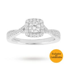 Vera Wang Love Brilliant Cut 0.58 Total Carat Weight Solitaire and Diamond Set Shoulders Ring in 18 Carat White Gold