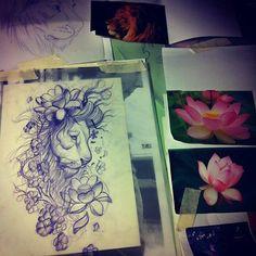 watercolor tattoos | sketch lion tattoo sketch lion tattoo water lily sketch tattoo tattoo ...