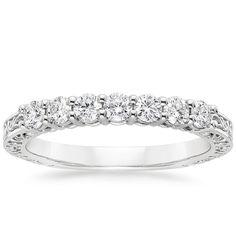 Delicate Antique Scroll Five Stone Diamond Wedding Ring 18K White