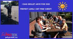 28. mai 2014 grillet Arve for oss i lunsjen. Herlig mat og god stemning!