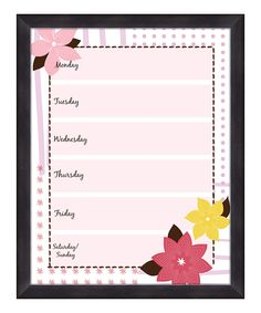 Flowers Weekly Memo Board | Daily deals for moms, babies and kids