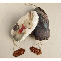 Easter rabbit Vintage ornament for Easter bunny gift Easter rabbit bunny Home decor Rabbit decoration Fabric ornament with embossed copper