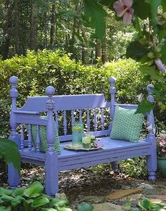 garden bench from headboard.  looooooooooove this!