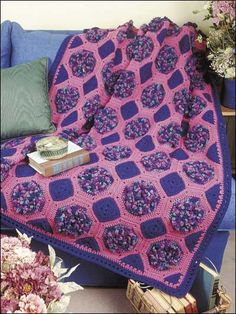 Raspberry Bouquet Afghan By Geneva Warren - Free Crochet Pattern With Website Registration - (freepatterns)