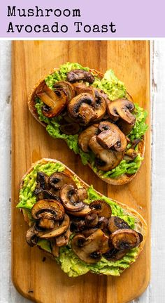 Mushroom Avocado Toast - This simple and flavorful vegan avocado toast is topped with warm skillet mushrooms and has a mildly garlic flavor. Mushroom Avocado Toast is perfect for brunch! Vegan Breakfast Recipes, Vegetarian Recipes, Vegan Avocado Recipes, Avocado Toast Recipe Vegan, Vegetarian Brunch, Breakfast Ideas, Breakfast Toast, Health Breakfast, Good Protein Breakfast