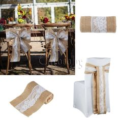 15cm x 240cm Hessian Burlap Lace Chair Sashes Bow Rustic Wedding Party Decor DIY  sc 1 st  Pinterest & 20pcs 7