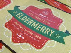 Eldermerry beer label (the hippest hops..) by Kim Walker