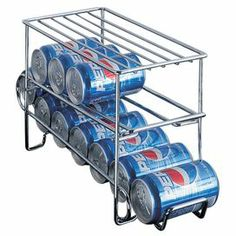 """Chrome-finished wire can holder with space for 12 cans.   Product: Can shelfConstruction Material: WireColor: ChromeFeatures:  Stores 12 cansExtra space on top for additional storage Dimensions: 9"""" H x 6.5"""" W x 18.75"""" D"""