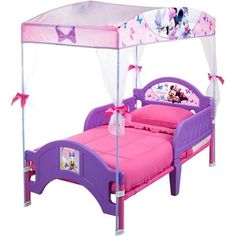 Disney Minnie Mouse Toddler Bed for Girls with Canopy, Pink and Purple, NEW